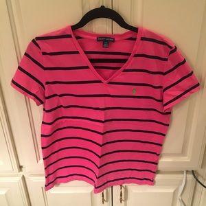 Ralph Lauren Pink Navy Stripe C Neck T Shirt Large